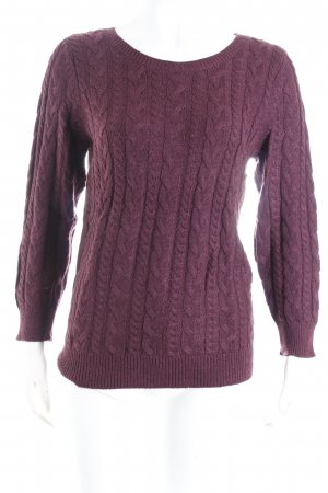 H&M Strickpullover bordeauxrot Zopfmuster Casual-Look