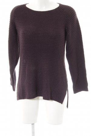 H&M Strickpullover braunviolett Lochstrickmuster Casual-Look