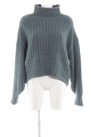 H&M Strickpullover blau Zopfmuster Casual-Look