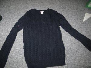 H&M Jersey trenzado azul oscuro Algodón