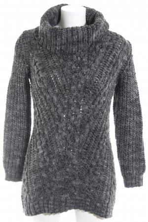 H&M Strickpullover grau-dunkelgrau Lochstrickmuster Casual-Look