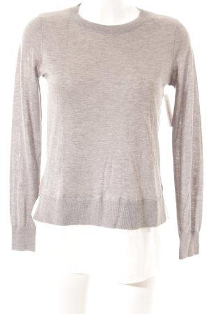H&M Strickpullover grau-weiß Lagen-Look