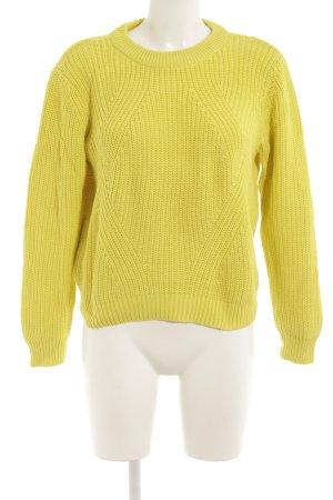 H&M Strickpullover limettengelb Webmuster Casual-Look