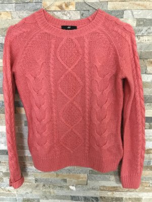 H&M Strickpullover mit Zopfmuster in Coral xs