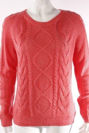 H&M Strickpullover mit Zopfmuster pink