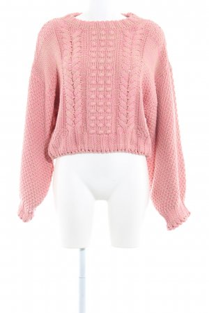 H&M Strickpullover pink-beige Zopfmuster Casual-Look