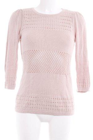 H&M Strickpullover rosé Lochstrickmuster Casual-Look