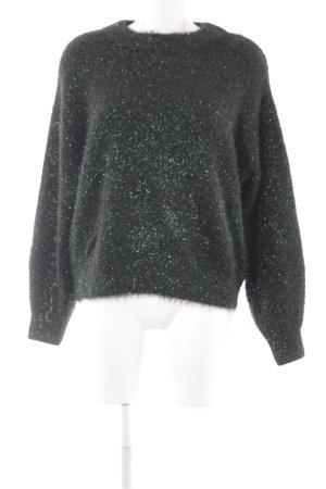 H&M Gebreide trui zwart-donkergroen wetlook