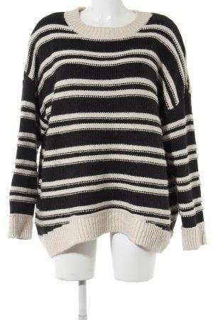 H&M Strickpullover schwarz-wollweiß Streifenmuster Casual-Look