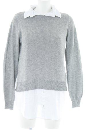 H&M Strickpullover weiß-grau Business-Look