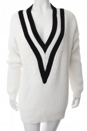 H&M Strickpullover weiß-schwarz