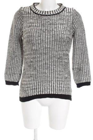 H&M Strickpullover weiß-schwarz Webmuster Casual-Look