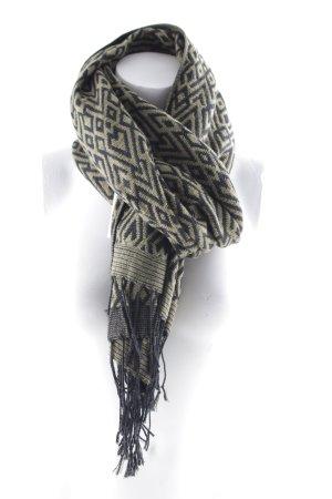 H&M Strickschal schwarz-olivgrün Gypsy-Look