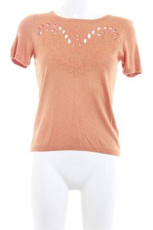 H&M Strickshirt dunkelorange florales Muster klassischer Stil