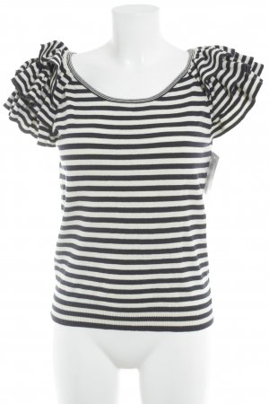 H&M Knitted Jumper white-dark blue striped pattern casual look