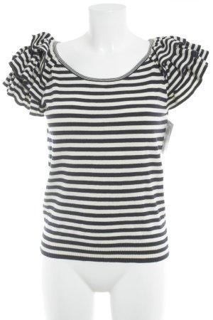 H&M Strickshirt weiß-dunkelblau Streifenmuster Casual-Look