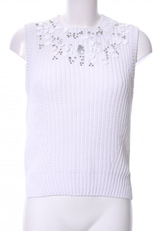 H&M Gebreide top wit gestippeld patroon casual uitstraling