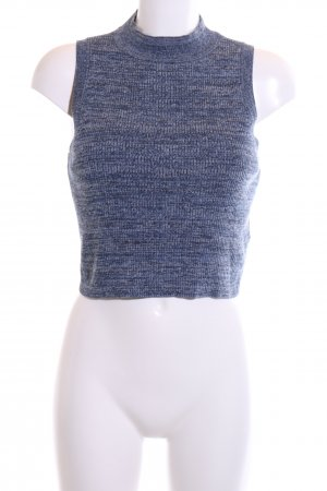 H&M Knitted Top blue-light grey flecked business style