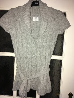 H&M L.O.G.G. Short Sleeve Knitted Jacket silver-colored mixture fibre