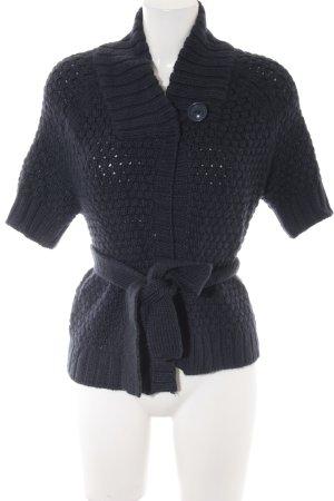 H&M Strickweste dunkelblau Webmuster Casual-Look