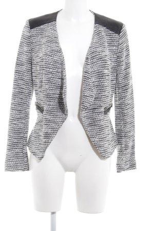 H&M Strickweste weiß-schwarz meliert Biker-Look