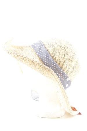 H&M Hoed van stro wolwit-lichtgrijs gestippeld patroon casual uitstraling