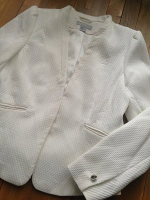 H&M Struktur Business Blazer Gr 42 40 weiss