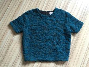 * H&M Struktur Woll Crop Pullover * Limitiert * Oversize *Petrol * Gr. 34