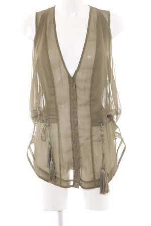 H&M Studio ärmellose Bluse olivgrün Casual-Look
