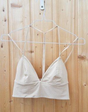 H&M studio crop Top gold nude sexy Bustier glitzer cropped