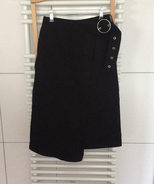 H&M Studio Falda cruzada negro-color plata