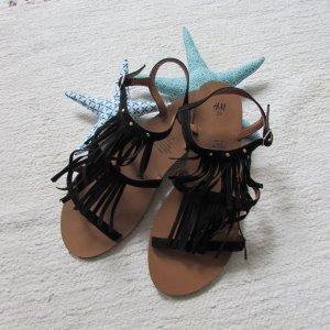 H&M * Süße Fransen Sandale * schwarz Wildlederoptik * 39