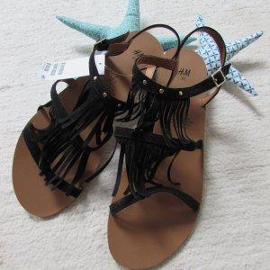 H&M * Süße Fransen Sandale * schwarz Wildlederoptik * 41