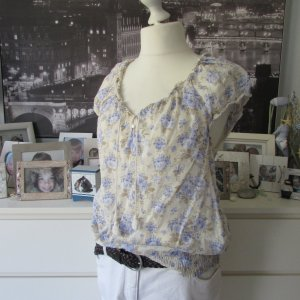 H&M * Süße Tunikabluse Shabby * creme-blau Blumen * 42/44