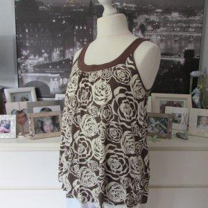 H&M * %Summer SALE% Süßes Hängerchen Top Babydoll * braun-creme Rosen * L=42/44