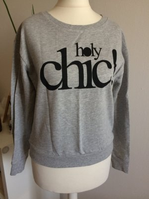 H&M Sweatshirt 36 S neu grau mit Druck Holly Chic Sommer Frühling Shirt Pulli Top