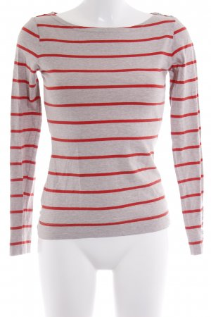 H&M Sweatshirt creme-rot Streifenmuster Casual-Look