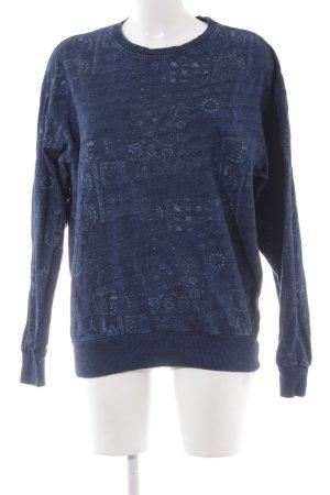 H&M Sweatshirt dunkelblau-hellblau abstraktes Muster Casual-Look