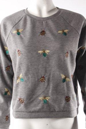 H&M Sweatshirt grau mit Käfer-Stickereien