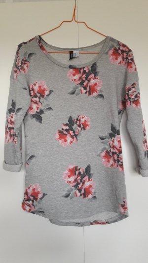 H&M Sweatshirt grau mit Rosenprint rosa pink Gr. XS