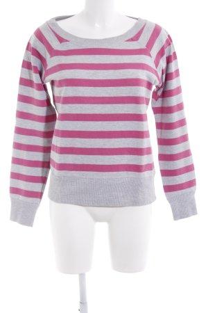 H&M Sweatshirt hellgrau-pink Streifenmuster Casual-Look