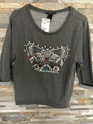 H&M Sweatshirt mit Steinchen in gr. Xs