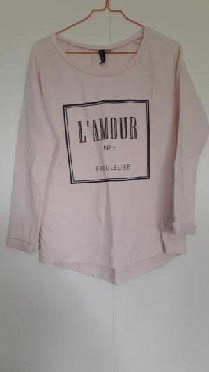 H&M Sweatshirt Pullover 3/4 Arm rosa schwarzer Aufdruck Gr. S