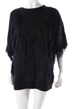 H&M Sweatshirt schwarz mit Fransen