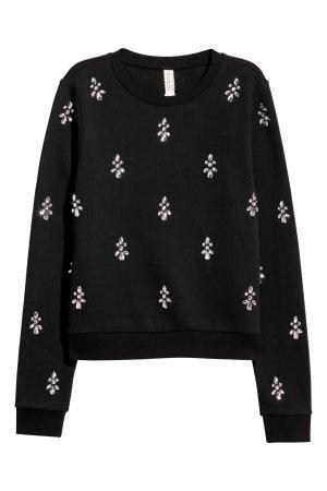 H&M Sweatshirt Schwarz mit Strass, Grösse S
