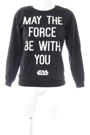 H&M Sweatshirt schwarz-weiß Schriftzug gedruckt Casual-Look