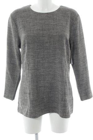 H&M Sweatshirt zwart-wolwit geruite print casual uitstraling