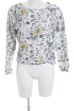 H&M Sweatshirt weiß-blassblau Blumenmuster Casual-Look