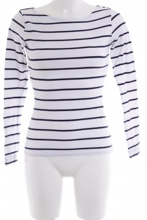 H&M Sweatshirt weiß-dunkelblau Streifenmuster Casual-Look