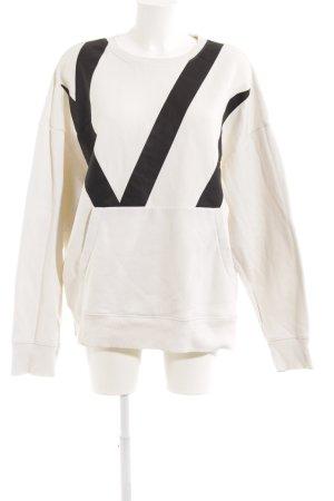 H&M Sweatshirt weiß-schwarz sportlicher Stil